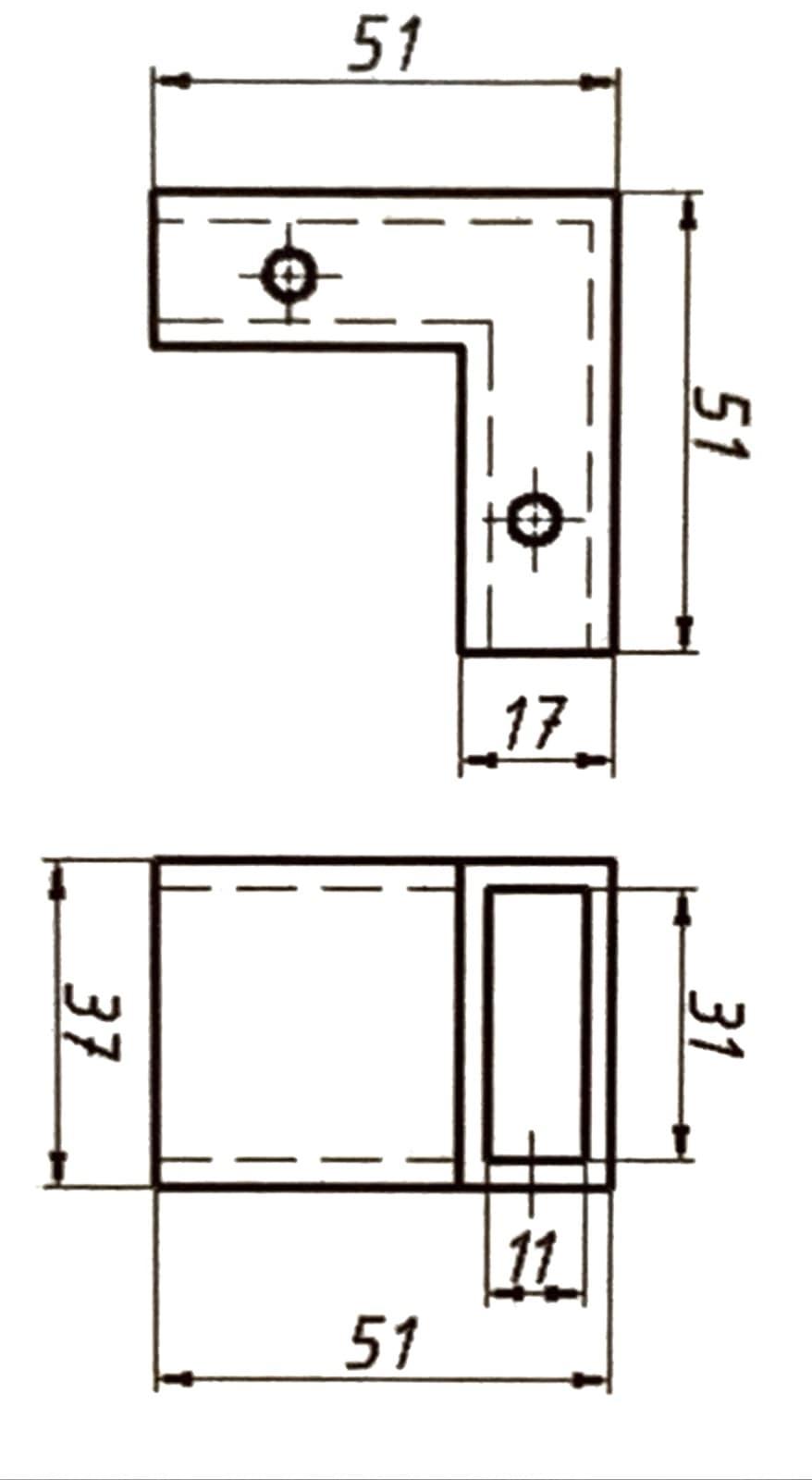Крепление трубы к трубе 10 х 30  мм под 90°
