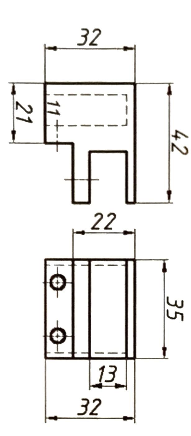 Крепление трубы 10 х 30 мм к стеклу под 90°