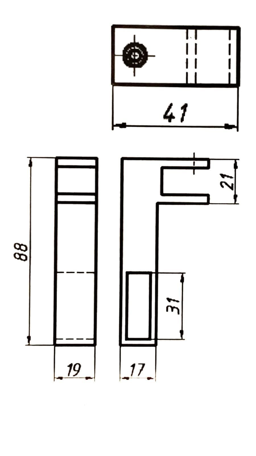 Крепление сквозное стекла к трубе прямоугольной 10 х 30 мм