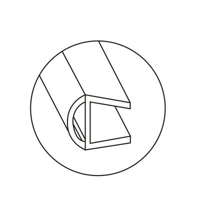 Уплотнитель для стеклянных дверей 180°