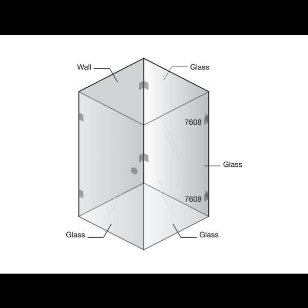 Крепление стекло-стекло 90°
