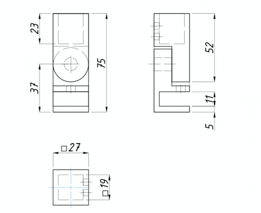 Крепление регулируемое трубы квадратной 15 х 15 мм к стеклу