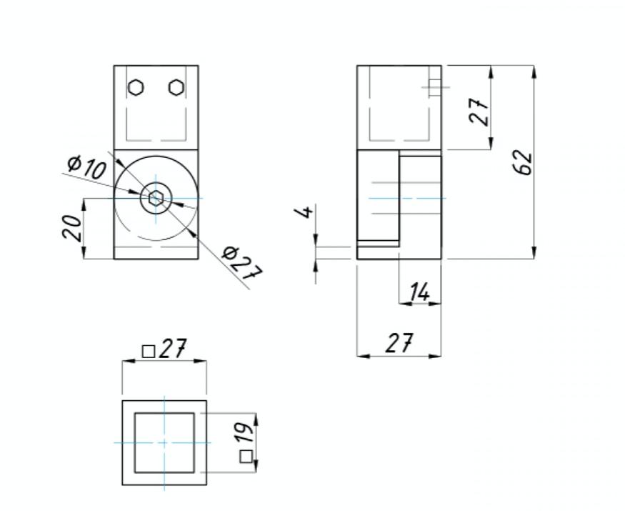 Крепление регулируемое трубы квадратной 15 х 15 мм к стене